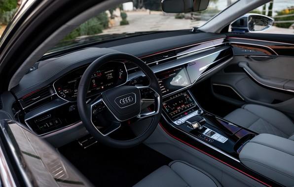 Картинка Audi, интерьер, седан, салон, Audi A8, Audi S8, 2020, 2019, V8 Biturbo