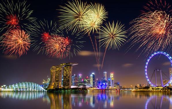 Картинка ночь, город, огни, отражение, праздник, здания, салют, Азия, Сингапур, колесо обозрения, фейерверк, мегаполис, водоем, архитектурные …