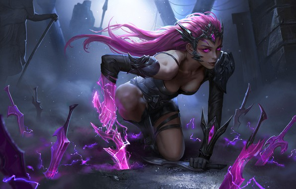 Картинка dark, girl, fantasy, cleavage, pink hair, armor, Warrior, weapons, digital art, artwork, fantasy art, daggers, ...