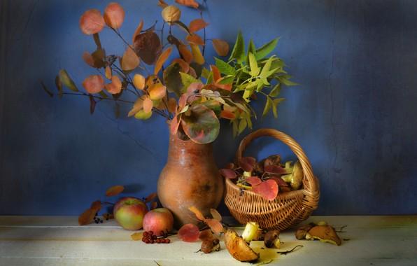 Картинка осень, листья, корзина, грибы, кувшин, фрукты, натюрморт