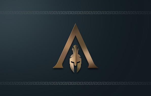 Обои logo, game, minimalism, Ubisoft, Assassin's Creed, digital art, simple background, Assassin's Creed Odyssey