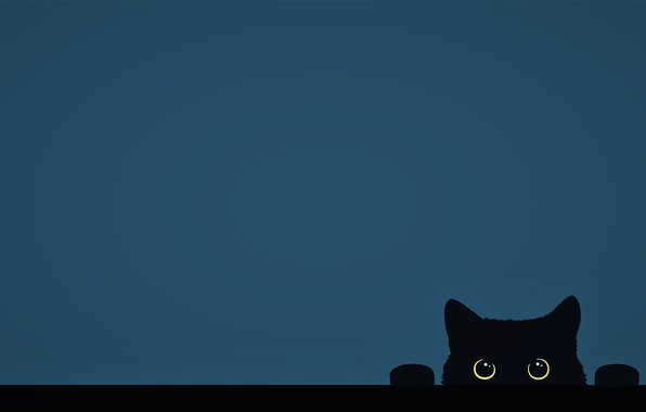 Картинка minimalism, Cat, funny, digital art, artwork, cute, yellow eyes, paw, simple background