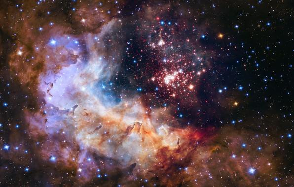 Картинка Хаббл, RCW 49, Gum 29, WR 20a, Westerlund 2, Тумманости, Звездные кластеры