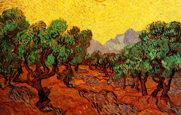 Картинка солнце, деревья, горы, Винсент ван Гог, with Yellow Sky, and Sun, Olive Trees