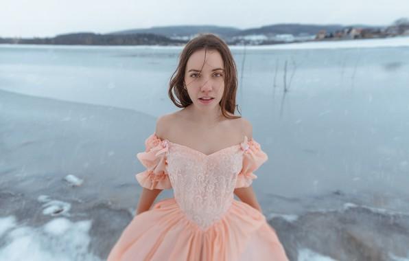 Картинка зима, девушка, лёд, платье, Ann Pashko, Анна Пашко