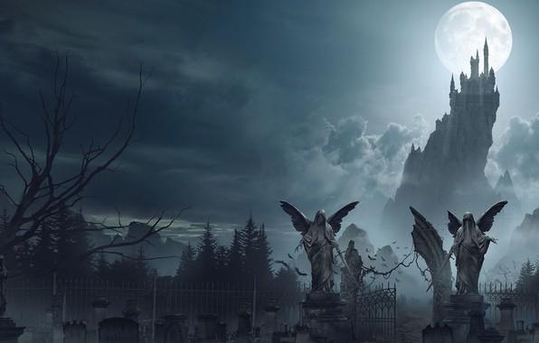 Картинка луна, кладбище, замок Дракулы, Dracula Castle, Ian Llanas