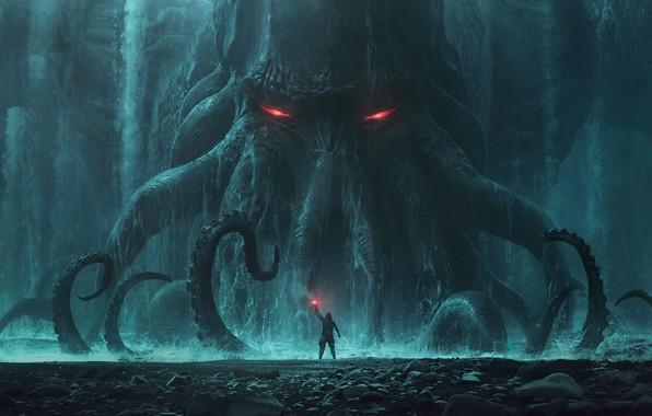 Картинка Ктулху, Cthulhu, monster, rocks, man, behemoth, tide, tentacles, Andree Wallin, signal light