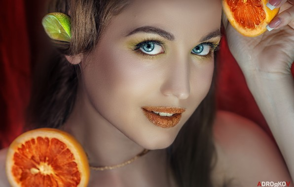 Картинка взгляд, лицо, стиль, апельсин, портрет, макияж, помада, лайм, губки, голубые глаза, цитрусы, Дарья Близнякова, Alexander ...