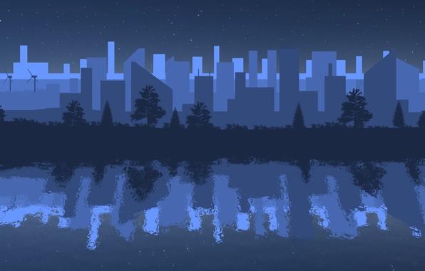 Картинка ночь, город, отражение, река, минимализм, ночной город