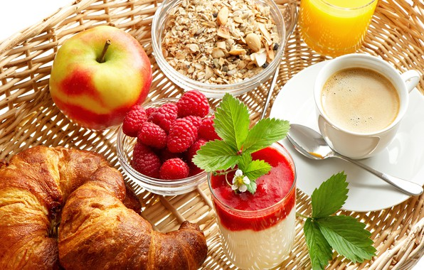 Картинка малина, кофе, яблоко, сок, круассаны, мюсли