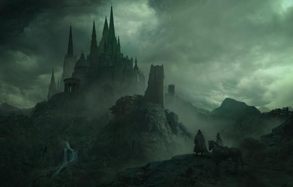 Картинка облака, тучи, люди, замок, рисунок, арт, крепость, всадники, дворец, шпили, пилигримы, Solomon Kane, Guillem H. …
