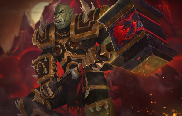 Картинка молот, броня, Warcraft, Варкрафт, armor, орк, hammer, вождь, orc, Орда, warchief, Horde, Orgrim Doomhammer, Оргрим …
