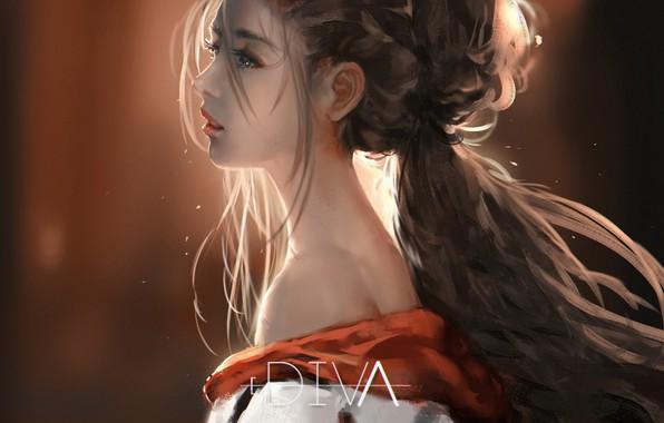 Картинка длинные волосы, в профиль, портрет девушки, шея плечи, by Diva