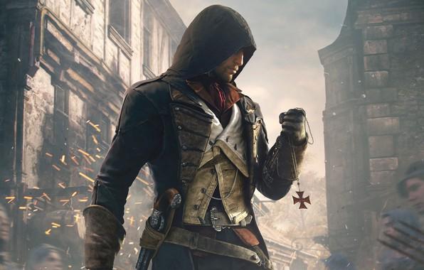 Картинка знак, Париж, окна, дома, капюшон, Paris, убийца, Ubisoft, пистоль, Arno, Арно, Assassin's Creed: Unity