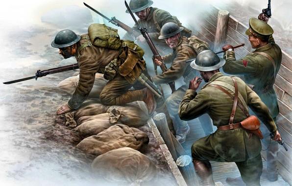 Картинка Солдаты, Западный фронт, Первая Мировая война, Битвы в окопах, Британские экспедиционные силы