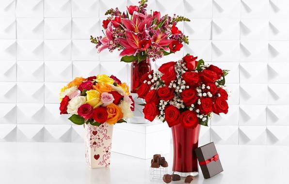 Картинка цветы, букеты, вазочки