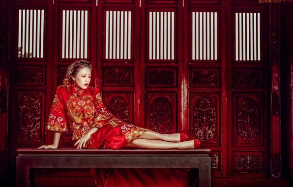 Картинка девушка, поза, стиль, модель, азиатка, скамья