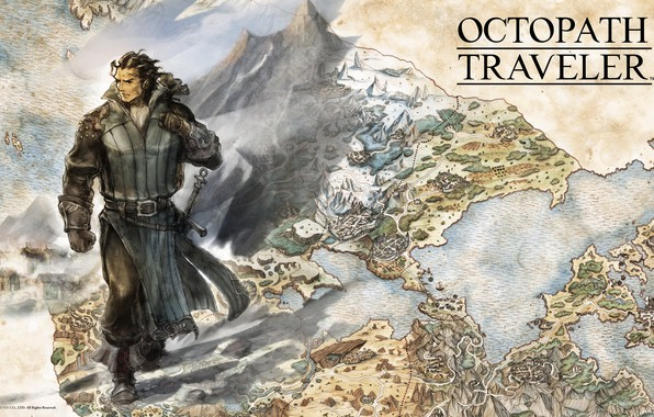 Картинка sword, fantasy, game, soldier, map, digital art, artwork, warrior, fantasy art, Octopath Traveler, Olberic Eisenberg