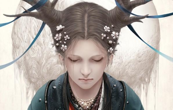 Картинка девушка, цветы, ленты, рога, бусы, bouno satoshi