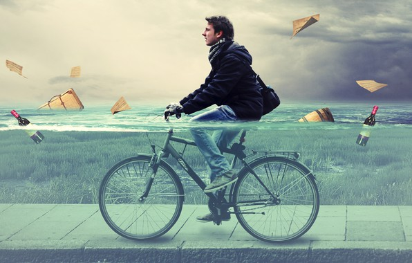 Картинка вода, велосипед, человек