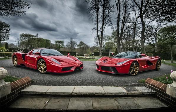 Фото обои Ferrari, Laferrari, And, Roso Corsa, Evolution, Enzo