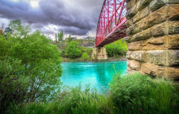 Картинка мост, река, HDR, дома, Новая Зеландия, bridge, Emerald