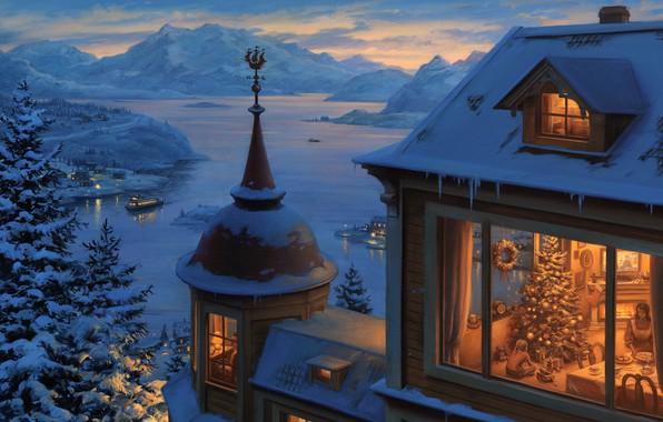 Картинка масло, Евгений Лушпин, «Возвращение домой на Рождество»