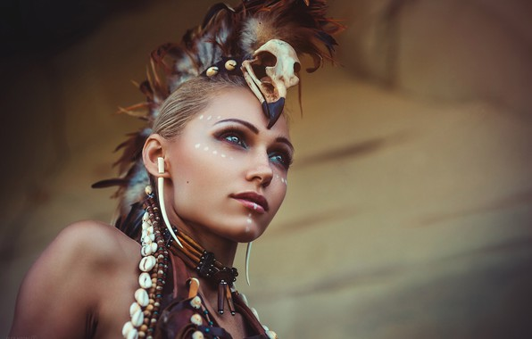 Картинка девушка, воин, боевая раскраска, Alex Noori