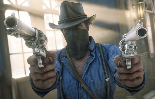 Картинка шляпа, оружия, Rockstar, Бандит, Red Dead Redemption 2, Arthur Morgan, ограбления