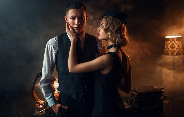 Картинка девушка, дым, светильник, мужчина, влюбленные, Maks Kuzin