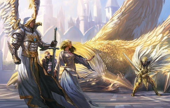 Картинка sword, fantasy, game, armor, weapon, wings, angel, dragon, artwork, warriors, fantasy art, griffin, creature, knight, ...