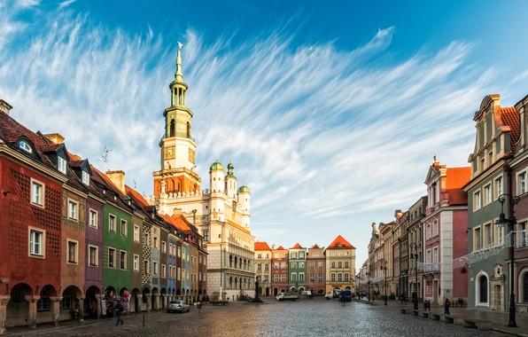 Картинка небо, здания, дома, площадь, Польша, Poland, Познань, Старый город, Poznań Town Hall, Old Market Square, …
