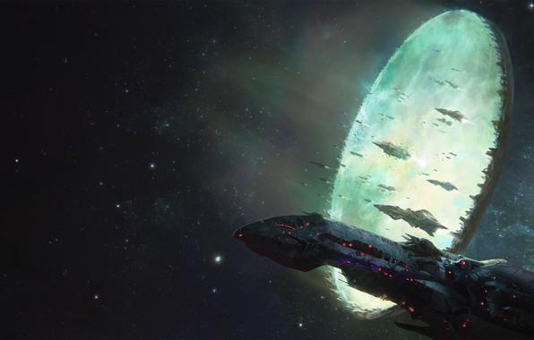 Картинка space, portal, fantasy, science fiction, stargate, stars, cosmos, sci-fi, galaxy, spaceships, artwork, fantasy art, futuristic, …