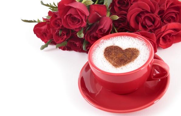 Картинка любовь, сердце, розы, сердечки, красные, red, love, heart, wood, cup, romantic, valentine's day, coffee, roses, …