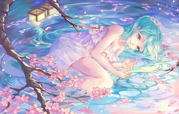 Картинка girl, Vocaloid, green eyes, dress, legs, anime, water, artwork, blue hair, anime girl, minidress, peach …