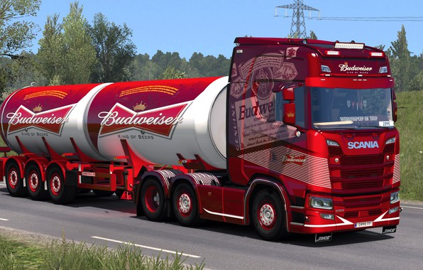 Картинка дорога, грузовик, Scania, ETS2, Budweiser, Euro Truck Simulator 2