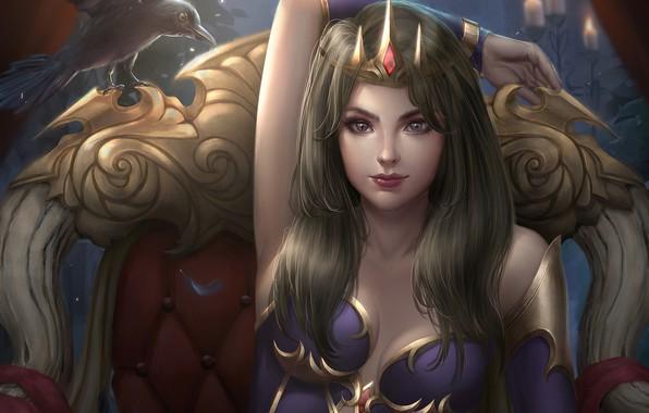 Картинка взгляд, девушка, поза, птица, кресло, корона, фэнтези, арт, ворон, трон