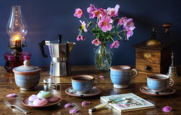 Картинка цветы, стиль, лампа, букет, чашки, книга, кружки, натюрморт, лупа, анемоны, кофеварка, кофемолка, ветреница