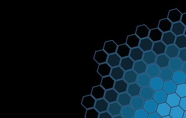 Картинка black, minimalism, texture, blue, black background, geometry, simple background, geometric shapes, Hexagons