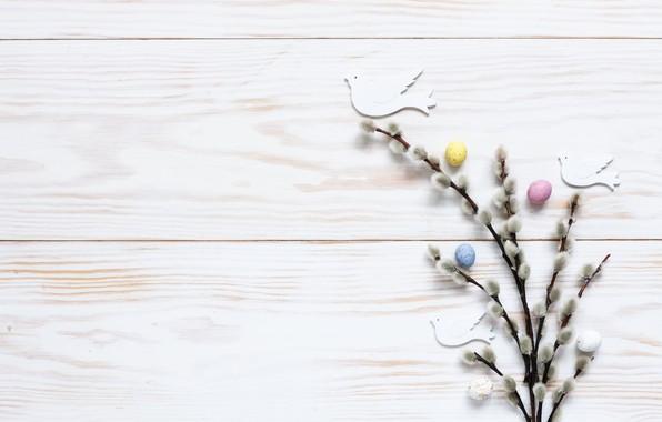Картинка праздник, яйца, пасха, голуби, верба, декор