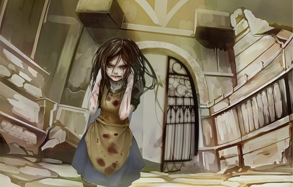 Картинка одиночество, страх, разрушение, ужас, боль, Alice, раны, ссадины, безумие возвращается, кровавые слёзы, Madness Return, руки …