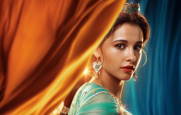 Картинка взгляд, девушка, украшения, принцесса, Naomi Scott, Princess Jasmine, In Aladdin