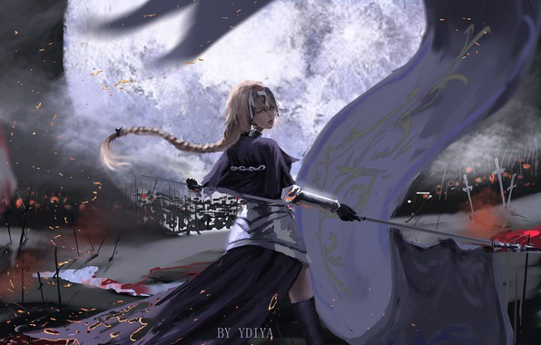Картинка girl, fantasy, anime, braid, blonde, digital art, artwork, warrior, fantasy art, armored, banner, anime girl, …