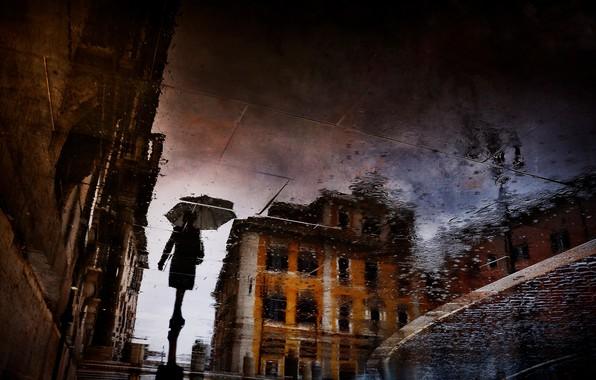 Картинка мокро, город, отражение, дождь, силуэт