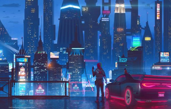 Картинка Авто, Ночь, Город, Будущее, Неон, Машина, Небоскребы, Здания, City, Архитектура, Арт, Art, Auto, Night, Фантастика, …