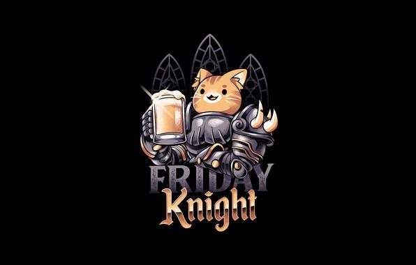 Картинка Минимализм, Кот, Стиль, Пиво, Фон, Арт, Art, Style, Рыцарь, Cat, Background, Knight, Minimalism, Beer, by …