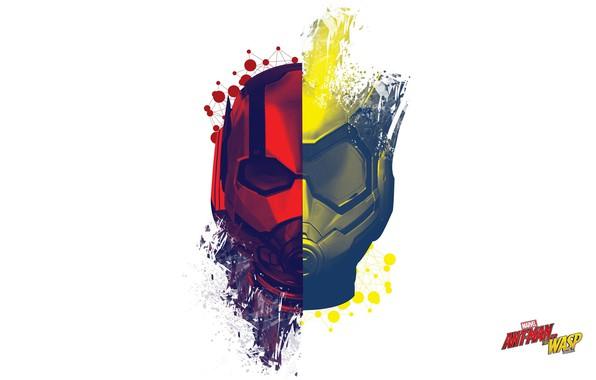Картинка абстракция, фантастика, минимализм, белый фон, маски, постер, MARVEL, Ant-Man and the Wasp, Человек-муравей и Оса