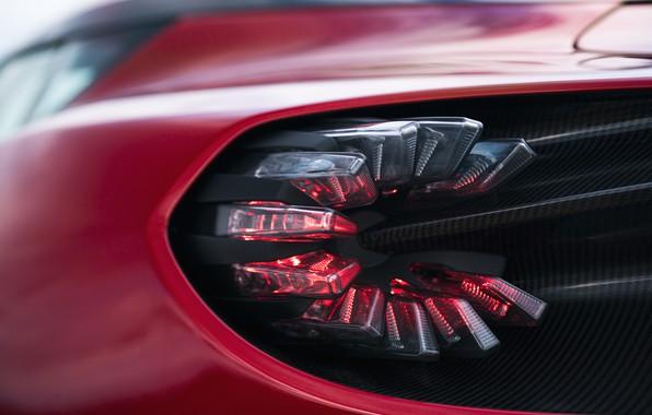 Картинка красный, Aston Martin, купе, фара, форма, Zagato, 2020, V12 Twin-Turbo, DBS GT Zagato, 760 л.с.