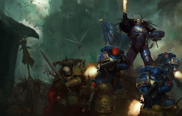 Картинка space marine, Ultramarines, Warhammer 40 000, Death Guard, primarch, chaos space marines, Roboute Guilliman