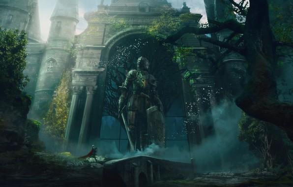 Картинка sword, fantasy, armor, trees, weapon, castle, gates, digital art, artwork, shield, warrior, fantasy art, Knight, …